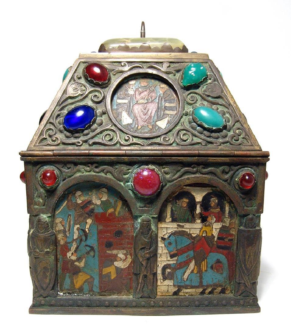 Wonderfully ornamented 19th C. bronze box, French - 4