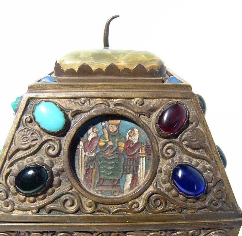 Wonderfully ornamented 19th C. bronze box, French - 7