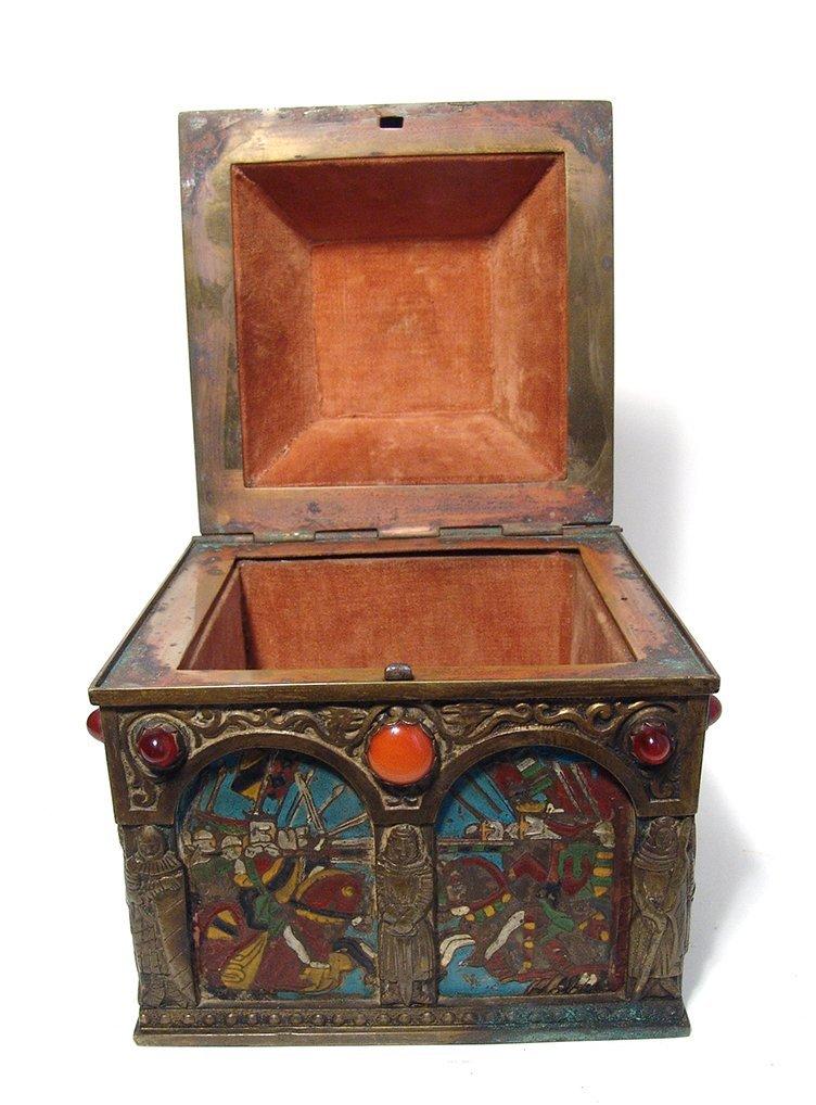 Wonderfully ornamented 19th C. bronze box, French - 9
