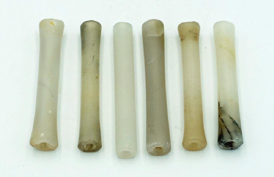 Group of six beautifully matched Calima tube beads