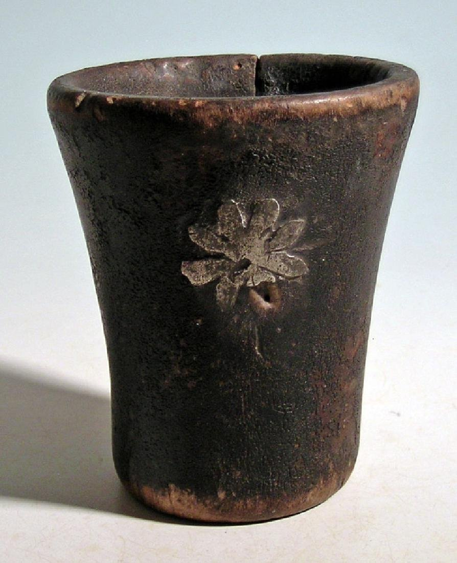 A lovely silver inlaid Inca kero - 2