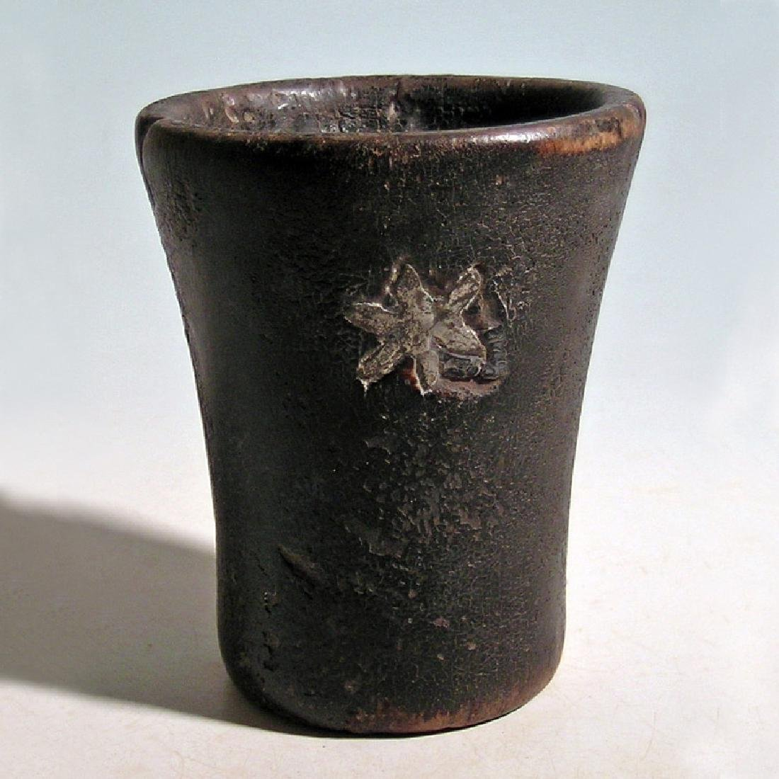 A lovely silver inlaid Inca kero - 4