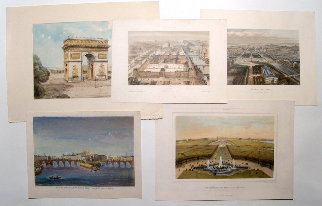 A lot of 5 beautifully colored 19th Century engravings