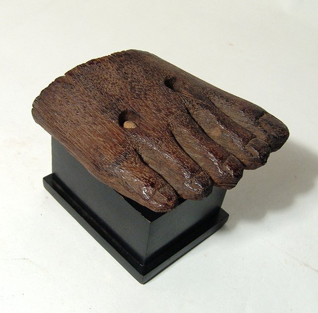 Egyptian wooden foot from statue, Middle Kingdom