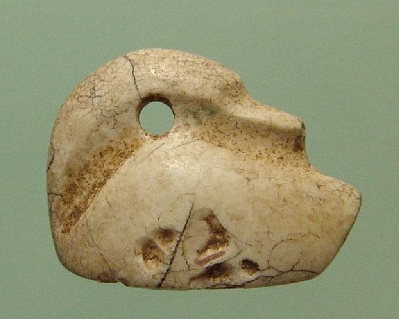 Neo-Babylonian creme marble stamp seal in form of duck