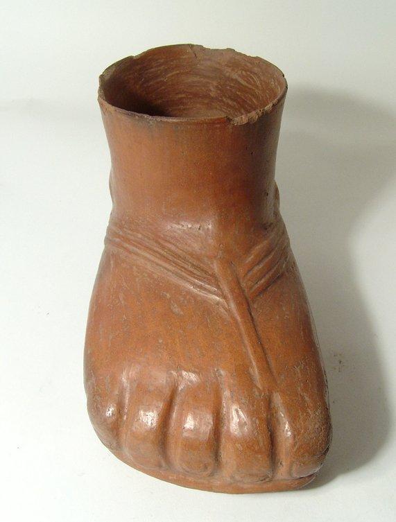 A fantastic Pre-Columbian foot formed vessel