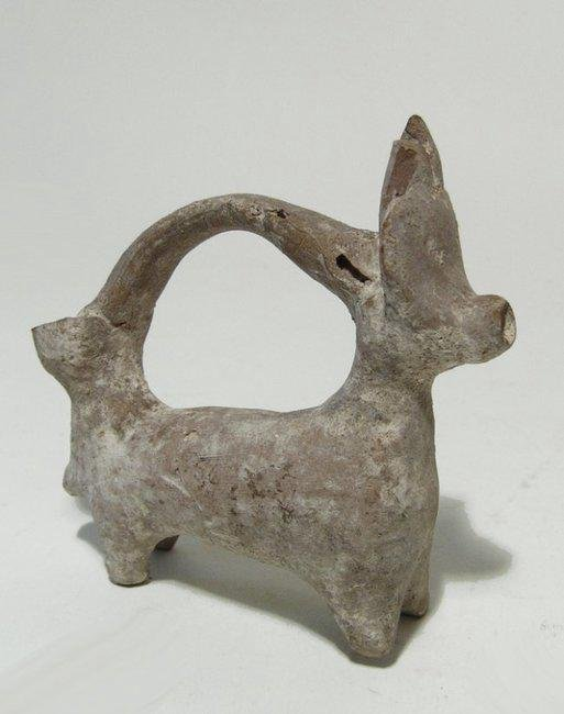 A nice Cypriot spouted vessel in the form of a bull - 2