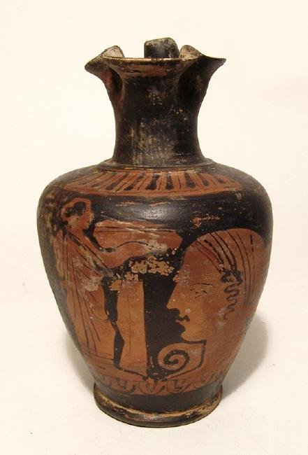 A nice Greek red-figure oinochoe with nice scene