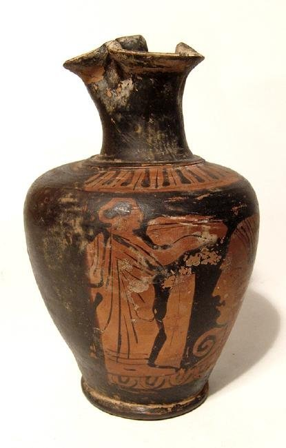 A nice Greek red-figure oinochoe with nice scene - 3