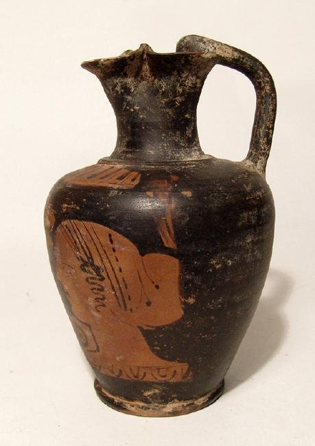 A nice Greek red-figure oinochoe with nice scene - 4