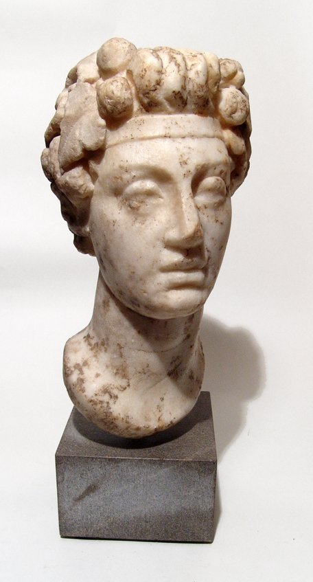 Fantastic Roman marble head of Commodus as Dionysus
