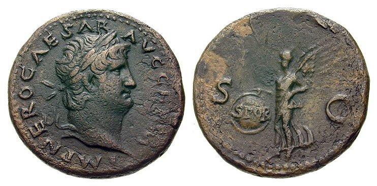 A fantastic Roman bronze coin of Emperor Nero