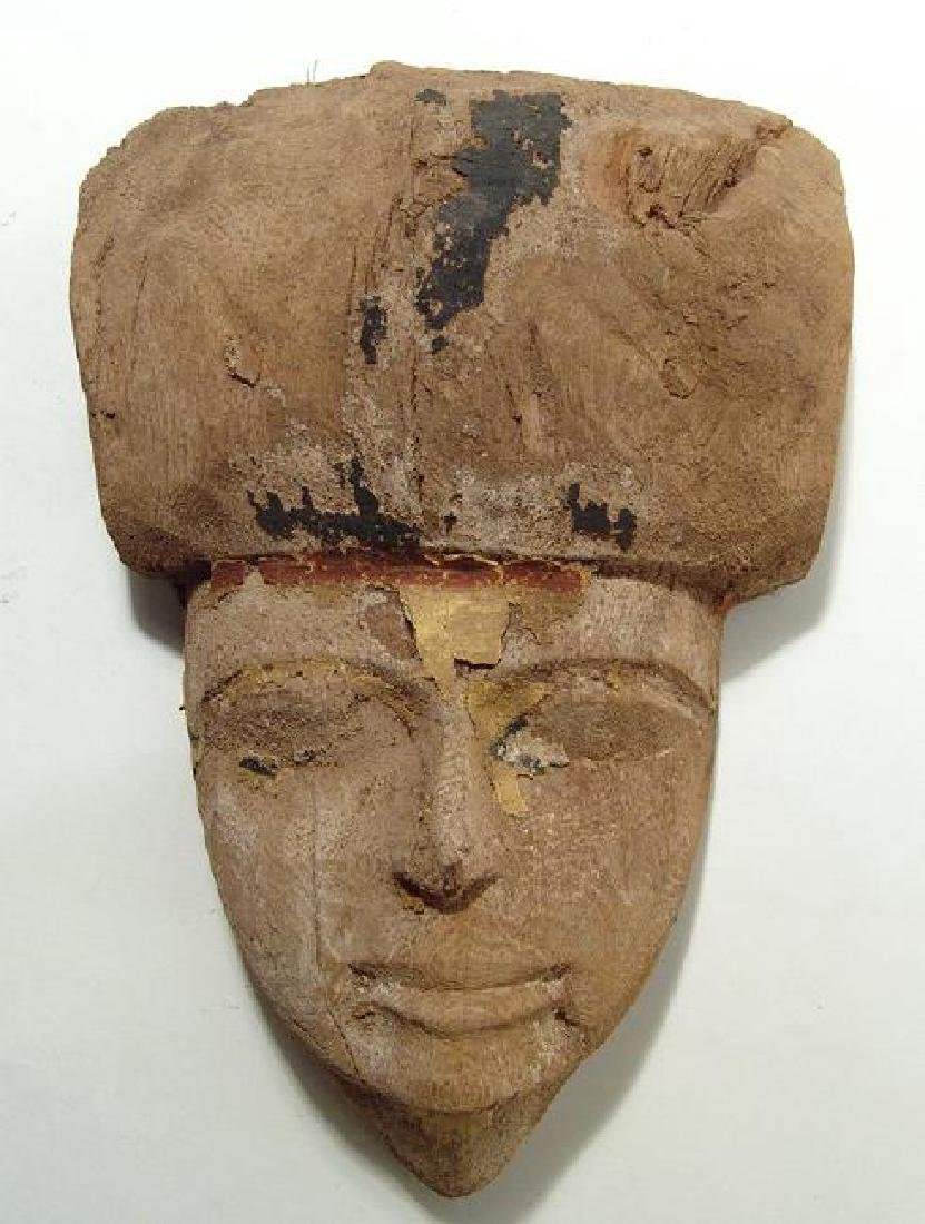 A lovely Egyptian wooden mummy mask, Late Period