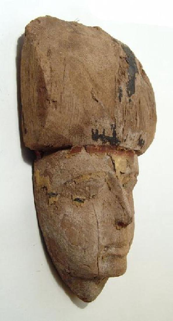 A lovely Egyptian wooden mummy mask, Late Period - 2
