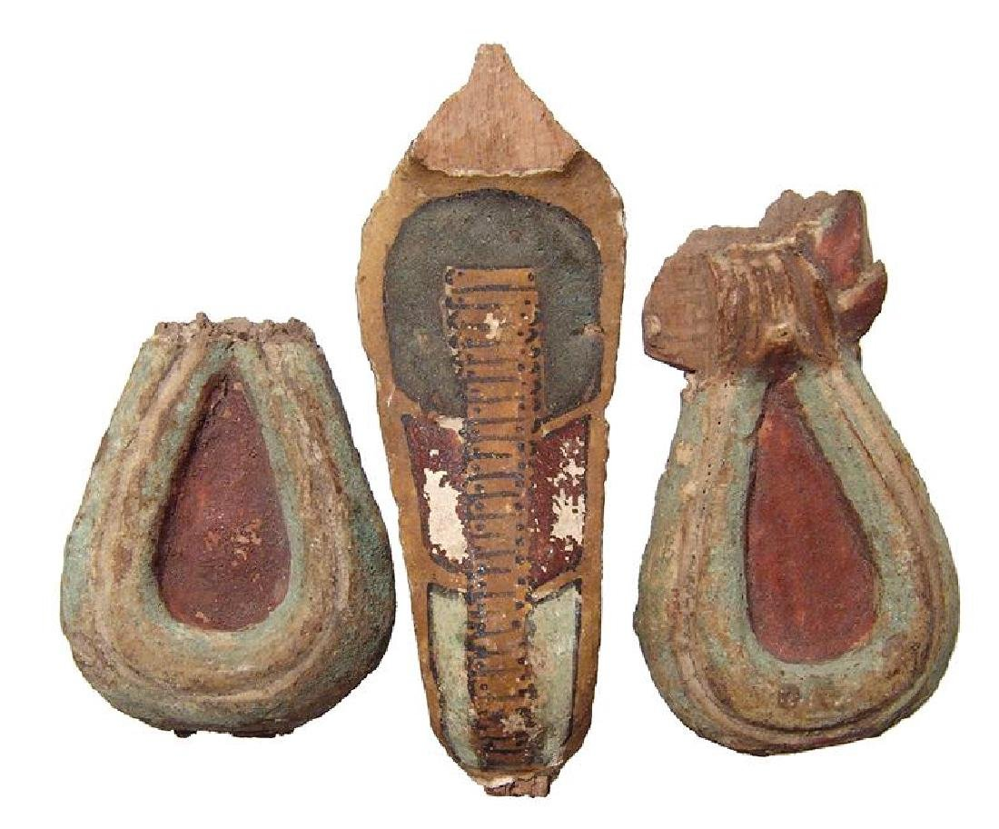 A group of 3 Egyptian painted wooden objects