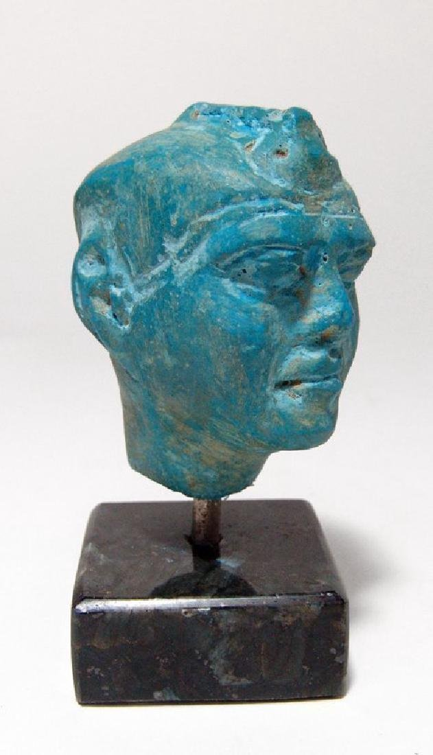 A stunning Egyptian blue composition head of a man - 2