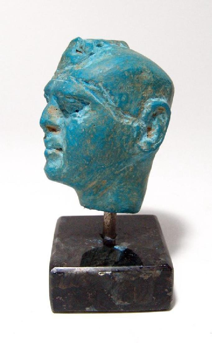 A stunning Egyptian blue composition head of a man - 3