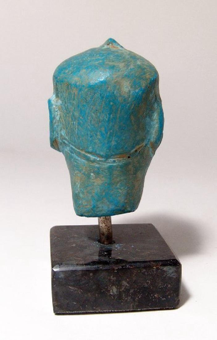 A stunning Egyptian blue composition head of a man - 4