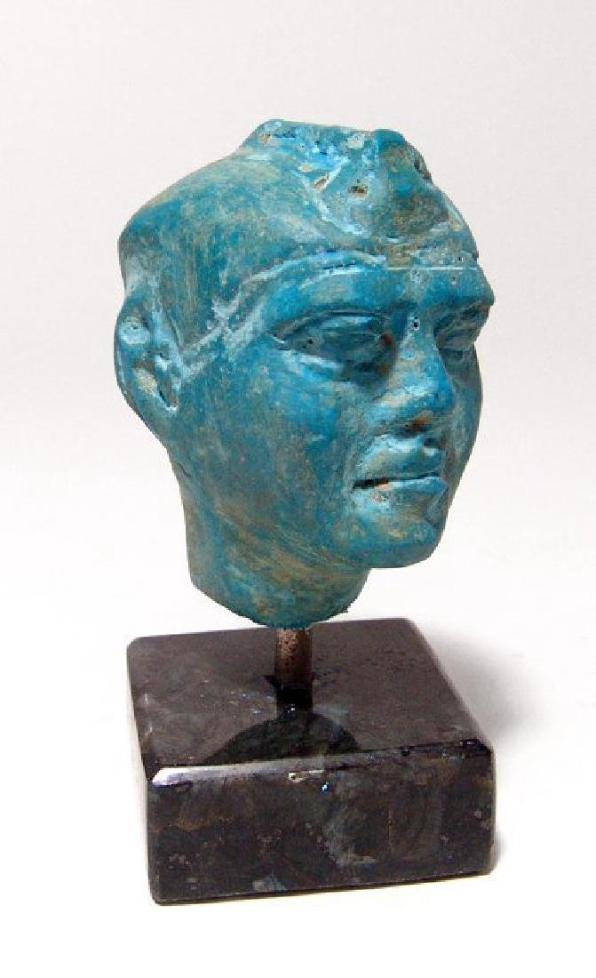 A stunning Egyptian blue composition head of a man - 5