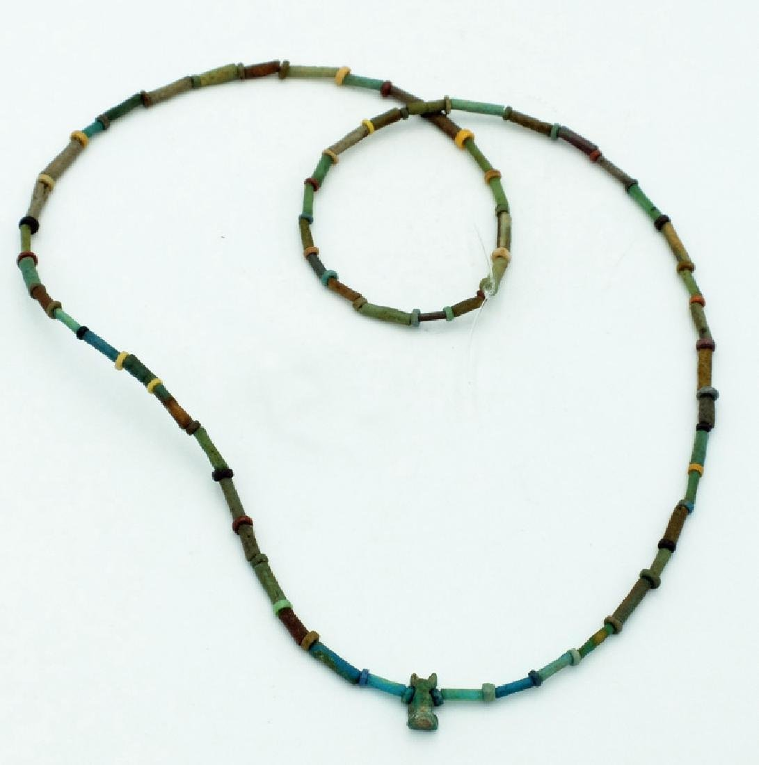 An Egyptian faience bead necklace, Late Period