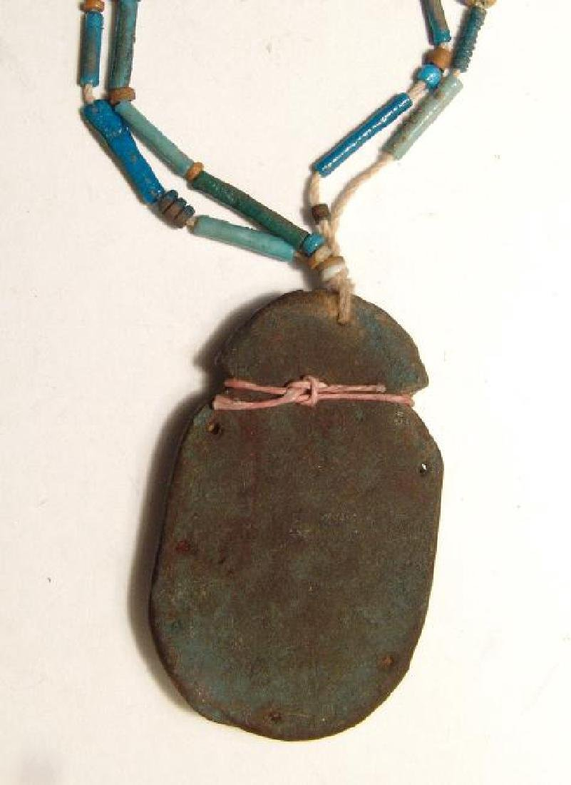 A strand of Egyptian faience beads with scarab pendant - 3