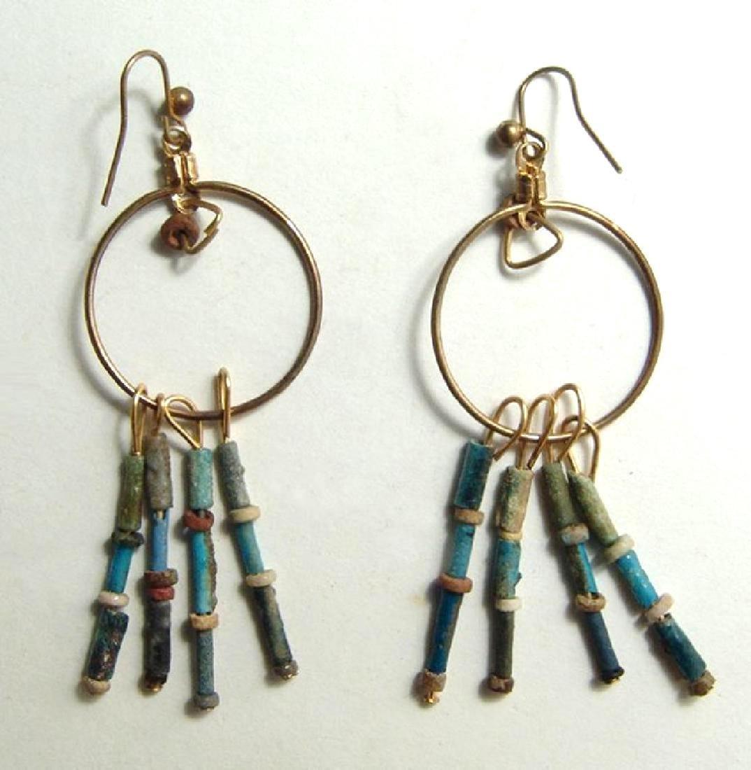 A pair of Egyptian faience bead earrings