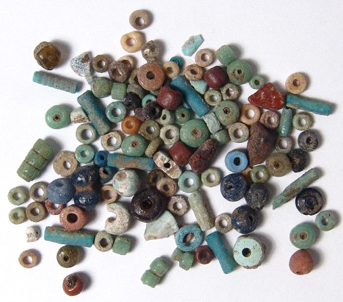 A set of Egyptian multicolored faience beads