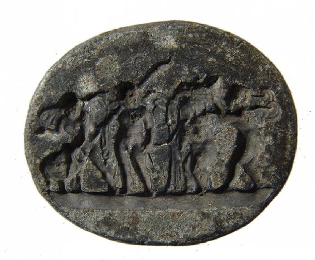 Rare Roman lead seal depicting a detailed cherubic