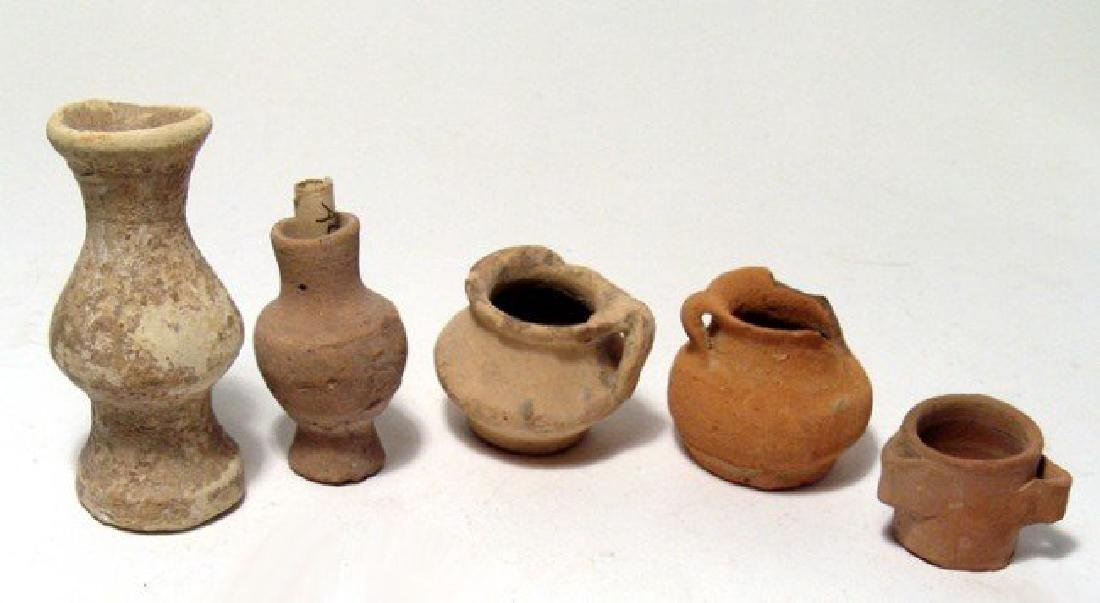 A nice group of five small Roman pottery vessels
