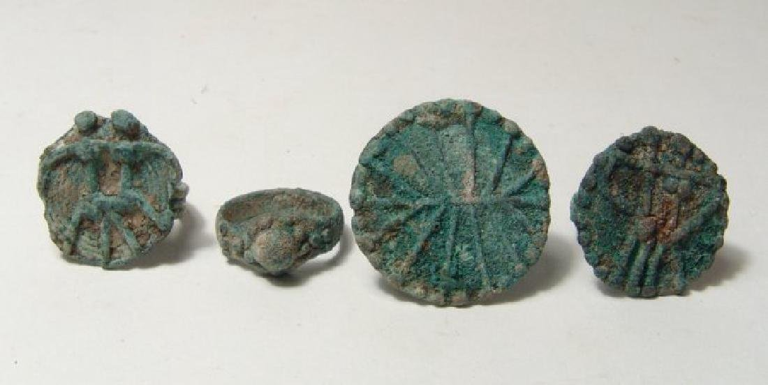 A lot of 4 Central Asian bronze rings - 2