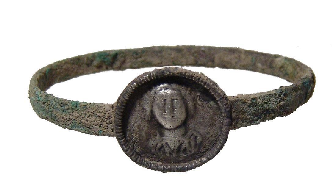 Late Roman/Byzantine bronze and silver bracelet