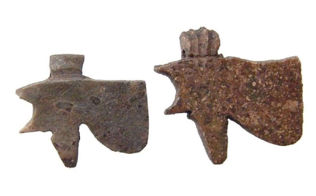 Attractive pair of stone Eye of Horus amulets, Late - 2