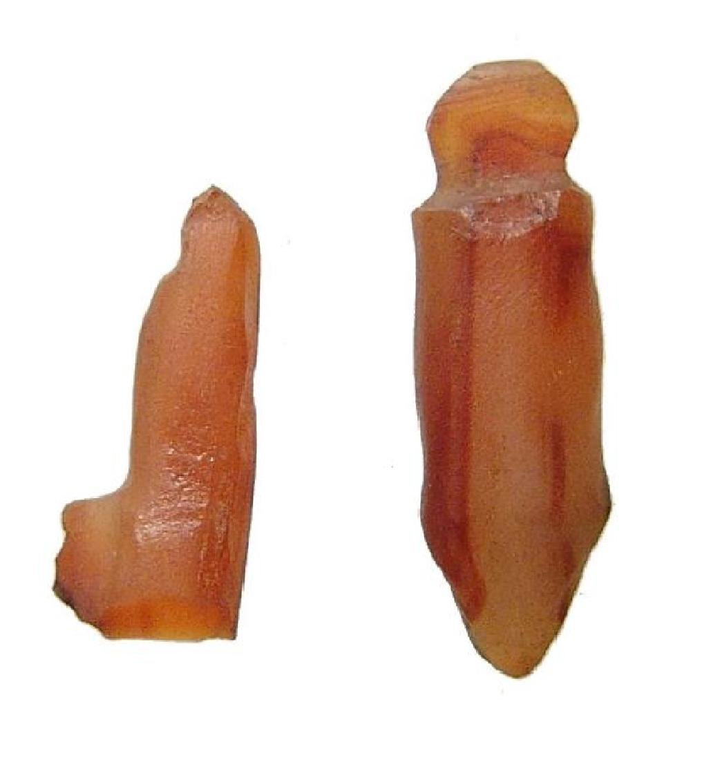A pair of ancient Egyptian carnelian amulets, Late - 2