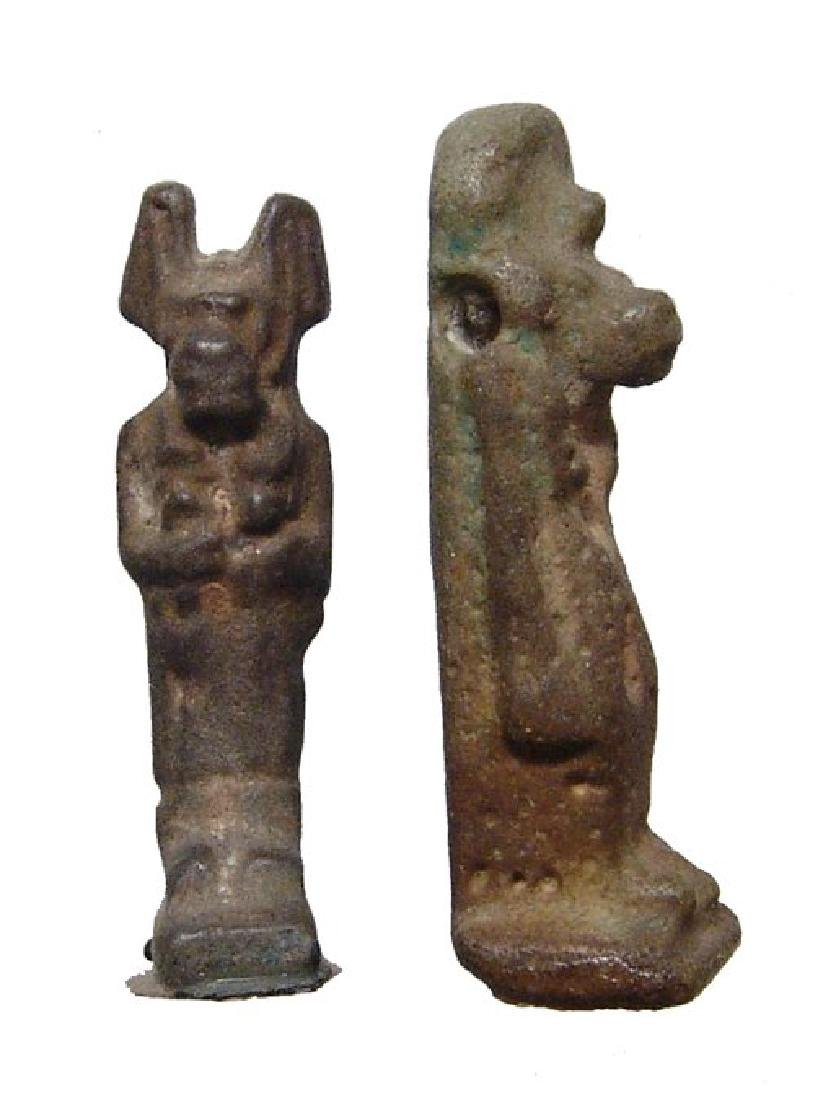 A lovely pair of 2 nice Egyptian green faience amulets - 2
