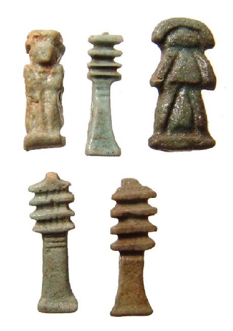 A group of 5 Egyptian faience amulets, Late Period