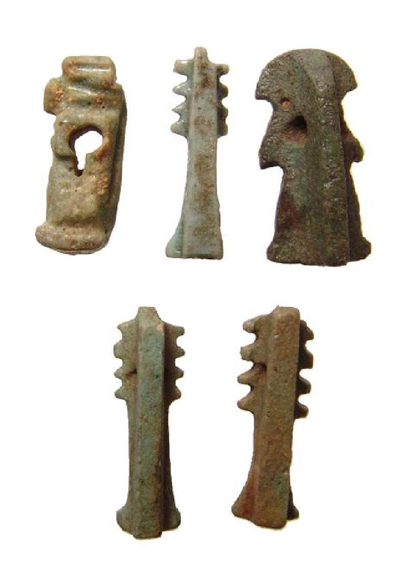 A group of 5 Egyptian faience amulets, Late Period - 2