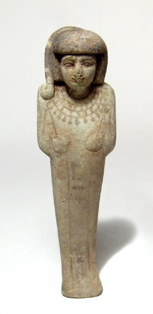A wonderful Egyptian faience ushabti of rare type