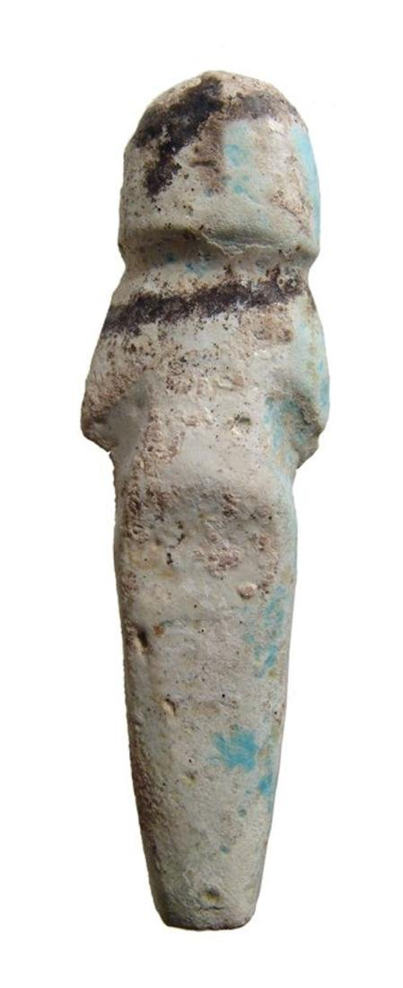 Egyptian bicolor faience ushabti, 3rd Intermediate - 3