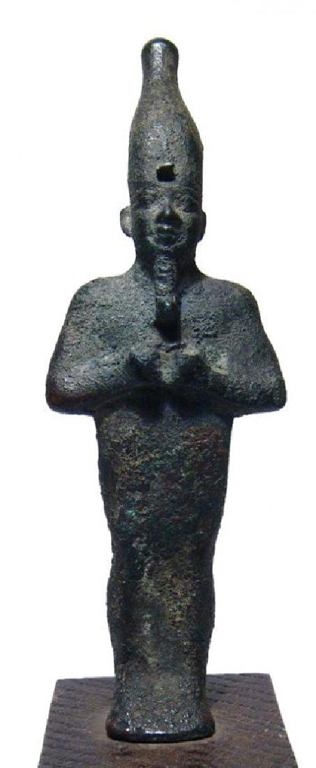 A very nice Egyptian bronze standing figure of Osiris - 4