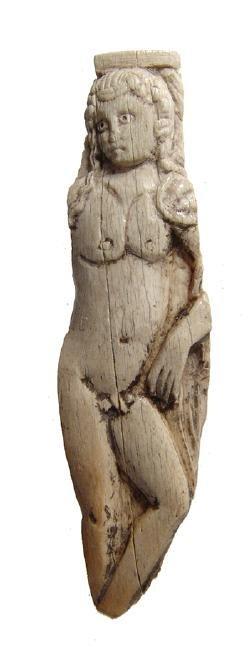 Fantastic carved Roman bone applique of Hermaphroditus