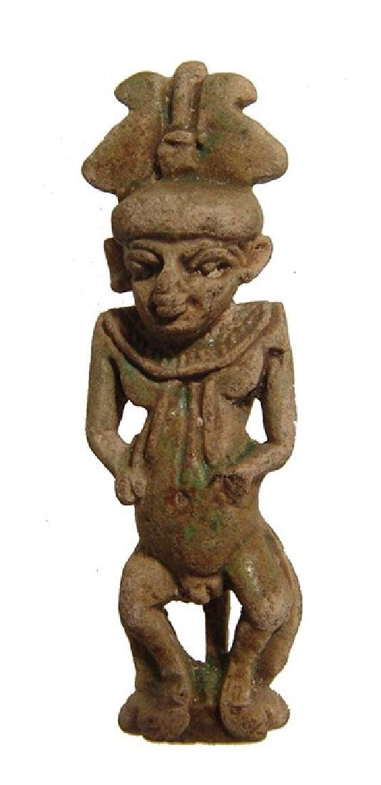 A lovely Egyptian faience amulet of Pataikos