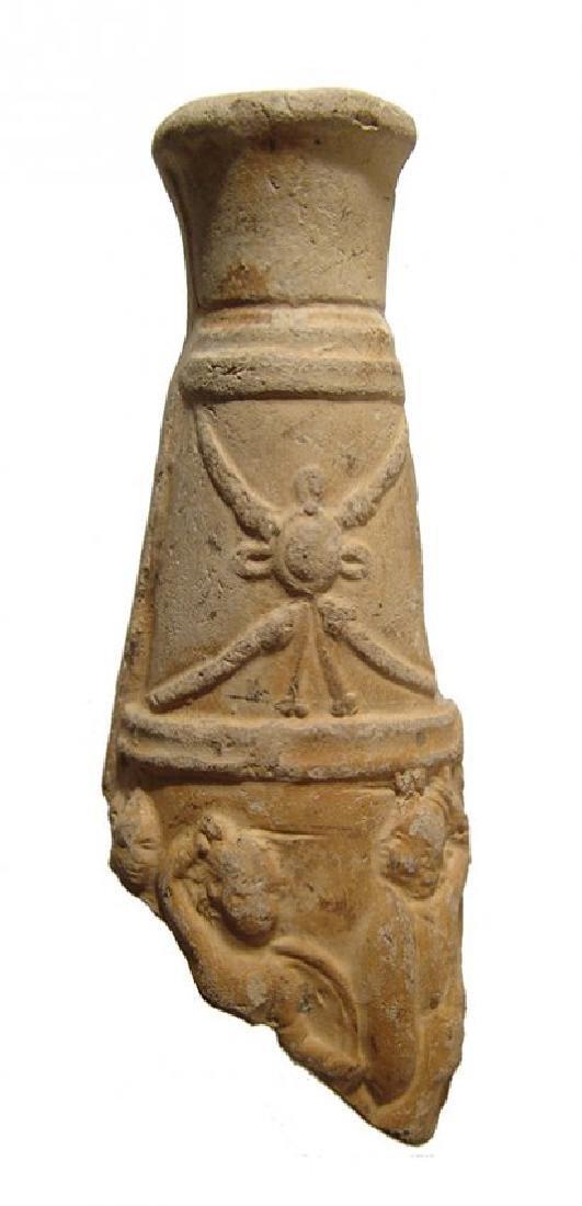 Roman terracotta vessel fragment depicting a battle