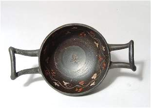 A Greek black-ware kylix, Magnia Graecia