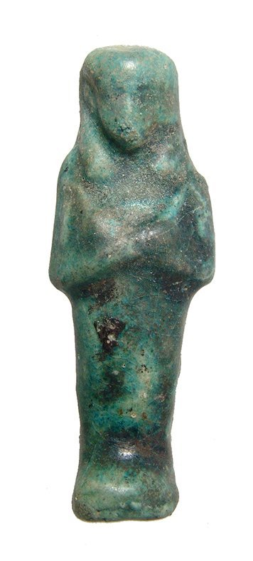 An Egyptian 3rd Intermediate blue-green glazed ushabti