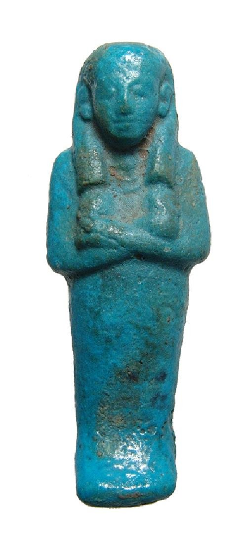 A nice Egyptian turquoise glazed faience ushabti