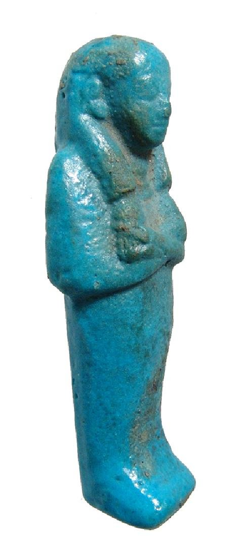 A nice Egyptian turquoise glazed faience ushabti - 2
