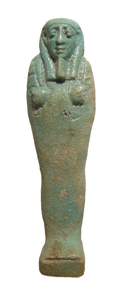 Nice Egyptian blue-green faience ushabti, Late Period