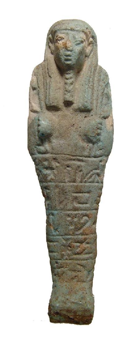 Egyptian pale-green glazed faience ushabti,Late Period