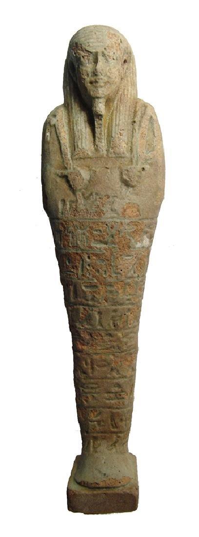 A large Egyptian faience ushabti, 30th Dynasty