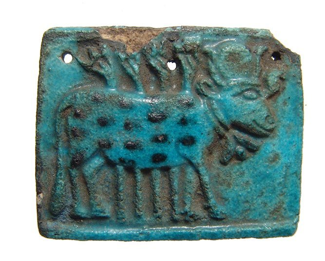 Beautiful Egyptian faience plaque depicting Apis Bull